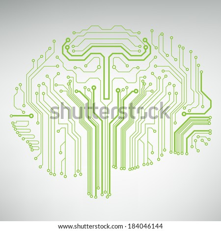 Circuit board computer style brain vector technology background. EPS10 illustration with abstract circuit brain  - stock vector