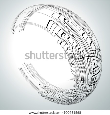 Circuit board concept  background in a ring shape