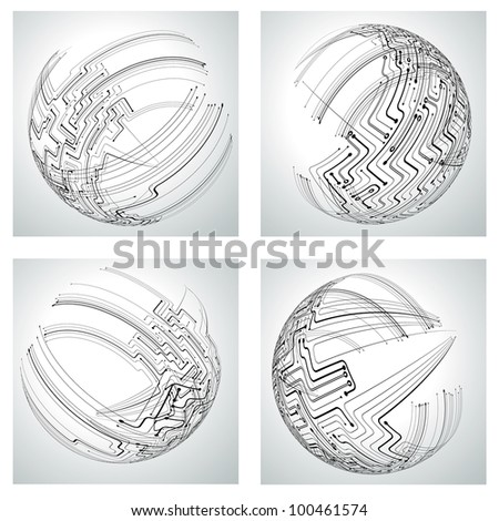 Circuit board concept. Set of 4 planets made of circuits - stock vector