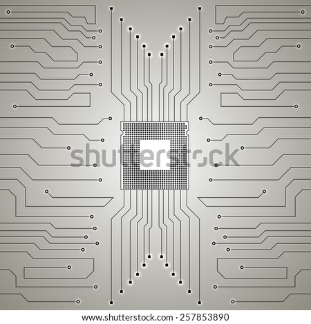 Circuit Board. CPU. Vector illustration. Eps 10 - stock vector