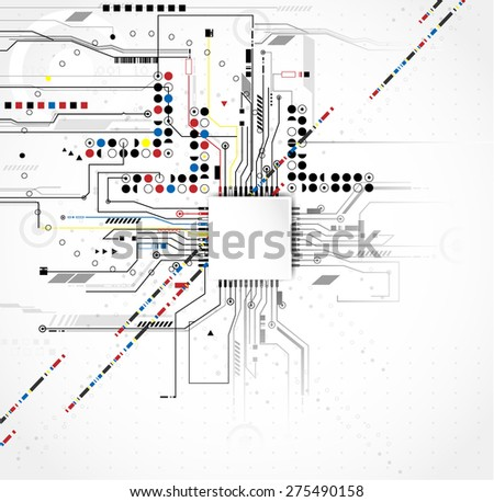 Circuit board design background vector - stock vector