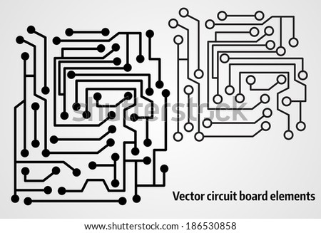 Circuit board elements for your design - stock vector