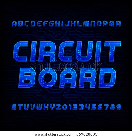 Circuit board font. Vector Alphabet. Digital hi-tech style letters and numbers. Dark high-tech background.