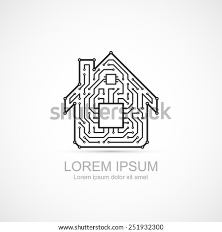 Circuit board house icon. - stock vector