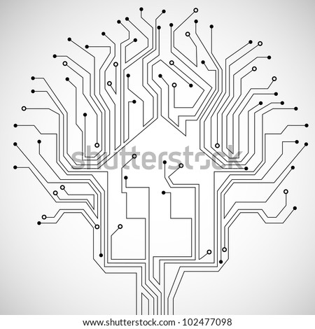 Circuit board house.Vector technology background - stock vector