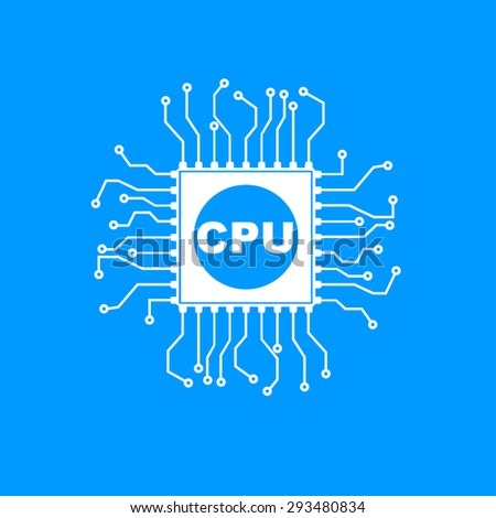 Circuit board  icon. Technology scheme square symbol.  - stock vector
