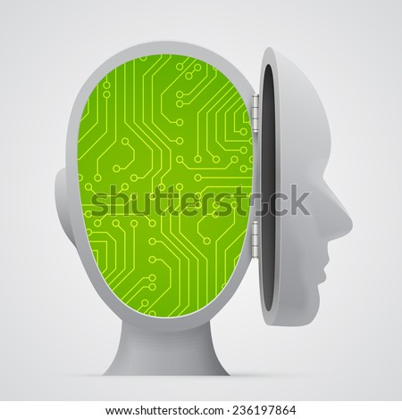 Circuit board inside head. Technology. Vector illustration. - stock vector