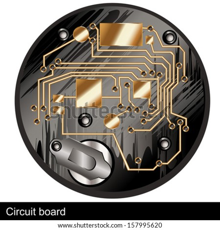 Circuit board of an old digital  watch, along with silver battery. - stock vector