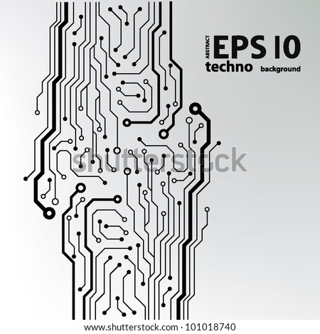 Circuit Board Pattern Blackandwhite Abstract Technology Stock Vector ...