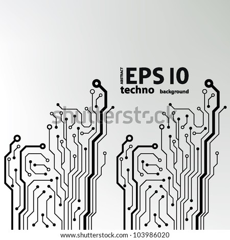 circuit board pattern black-and-white. abstract technology circuit board vector background - stock vector
