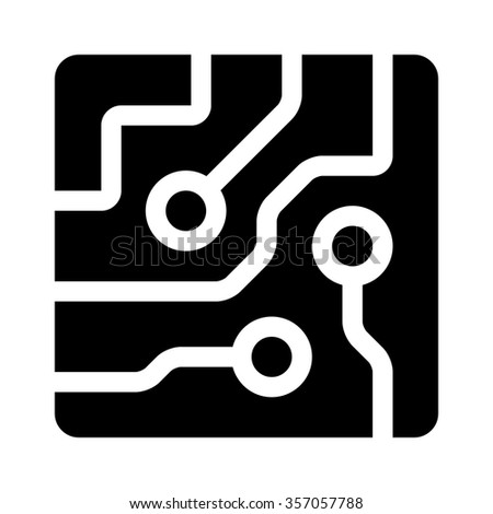 Circuit board semiconductors flat icon for apps and websites - stock vector