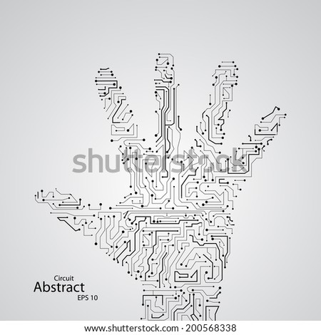 Circuit board shape of hand palm eps10, vector elegant illustration - stock vector