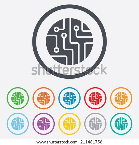 Circuit board sign icon. Technology scheme circle symbol. Round circle buttons with frame. Vector - stock vector