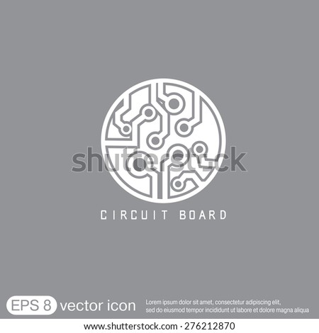 Circuit board sign icon. Technology scheme symbol.