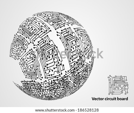 Circuit board sphere - abstract modern background - stock vector