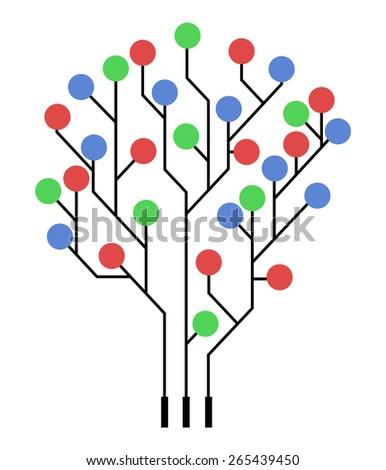 Circuit board tree - stock vector