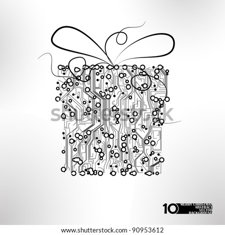 circuit board vector background, technology illustration, christmas gift eps10 - stock vector