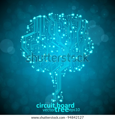circuit board vector background, technology illustration, form of tree eps10 - stock vector