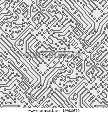 Circuit board vector computer seamless background - electronic pattern