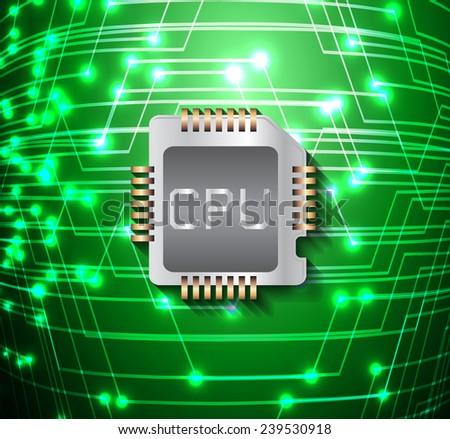 circuit board vector dark green color background, technology illustration. cpu.  - stock vector