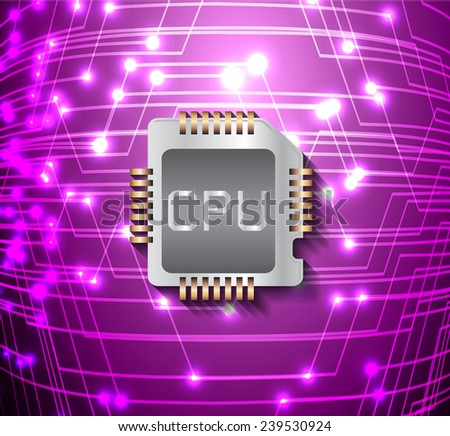 circuit board vector dark purple color background, technology illustration. cpu.  - stock vector