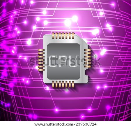 circuit board vector dark purple color background, technology illustration. cpu.  - stock vector