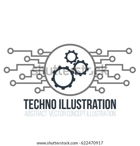 Circuit board vector on white background. Gears, engineering and tech, motherboard and computer design, illustration illustration