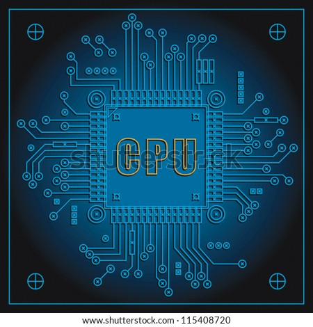 Circuit board with Central processing unit. EPS 8, CMYK - stock vector
