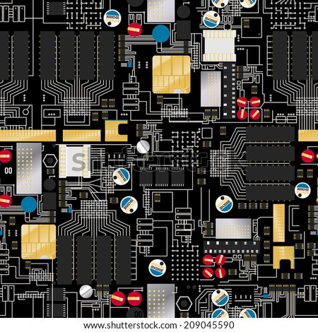 Circuit board with components and wires seamless pattern . - stock vector