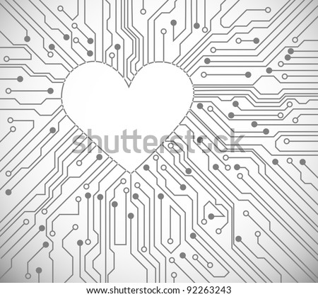 Circuit board with in heart shape pattern - stock vector