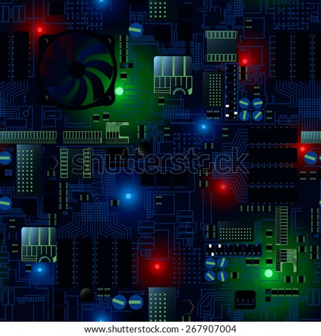 Circuit board with LED's and wires seamless pattern . - stock vector
