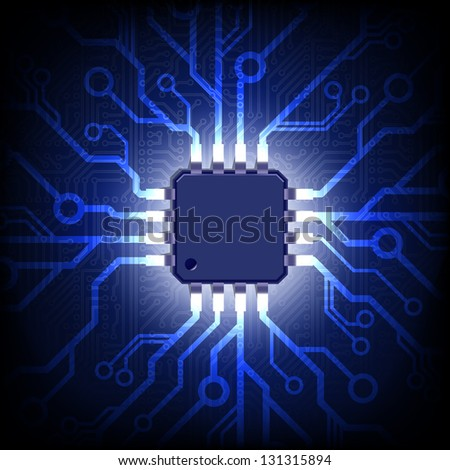 Circuit board with microchip. Vector background. - stock vector