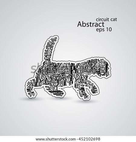 Circuit cat goes for a walk eps10, vector elegant illustration - stock vector