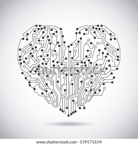 circuit heart over vintage background vector illustration - stock vector