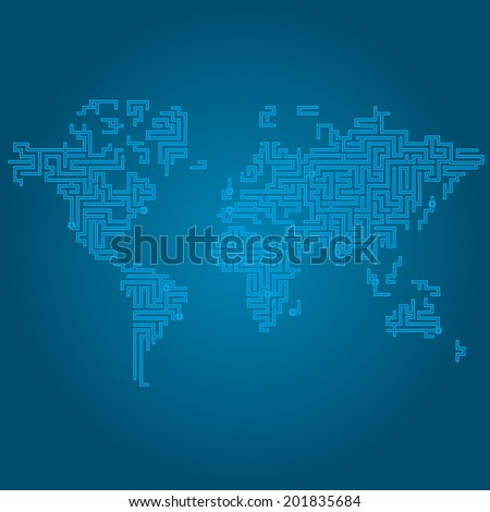 circuit planet over blue background vector illustration  - stock vector