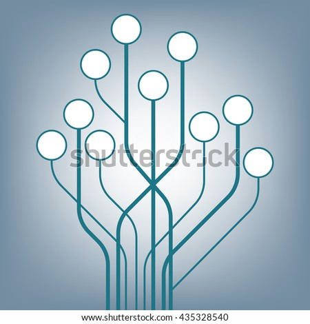 Circuit tree board digital in shape of the tree on background, illustration vector in flat design