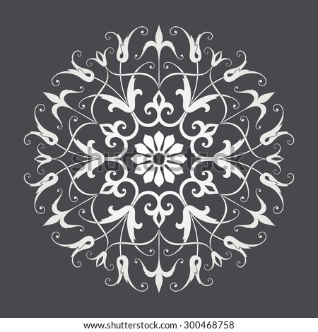 Circular abstract floral pattern. Mandala. Round vector ornament with intertwined branches, flowers  and curls. Arabesque. - stock vector