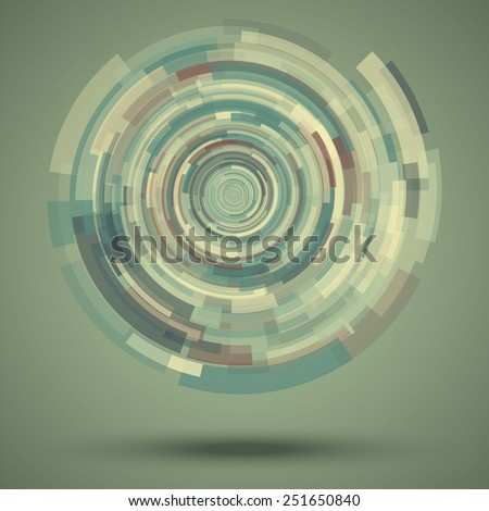 Circular abstract vector pattern in techno style. Elements of futuristic design in the form of scattered spiral object. Soft retro tones: green, yellow, brown. - stock vector