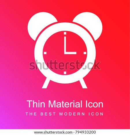 Circular alarm clock tool red and pink gradient material white icon minimal design