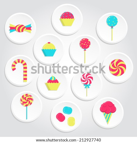 Circular and colorful candy icons with lollipops, ice cream, bubble gum and several candies. Colorful candy icons - stock vector