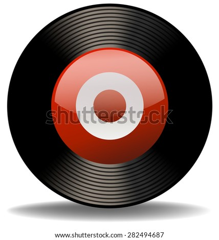 Circular black record on the white background