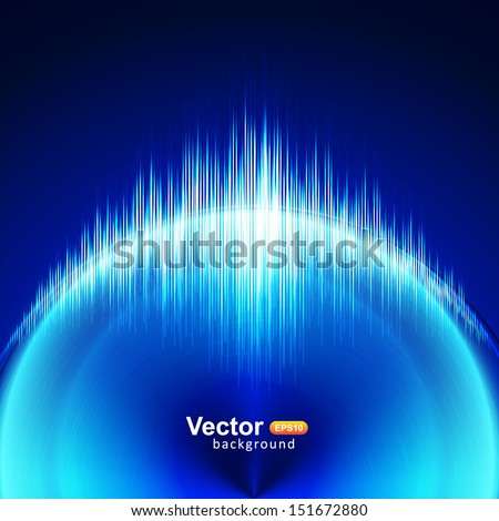 Circular blue equalizer - stock vector