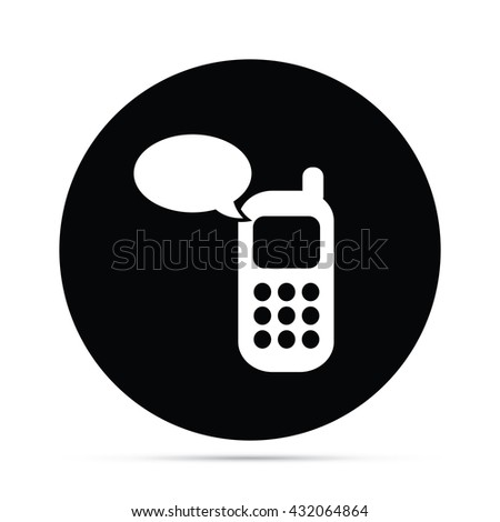 Circular Cell Phone Message Icon - stock vector