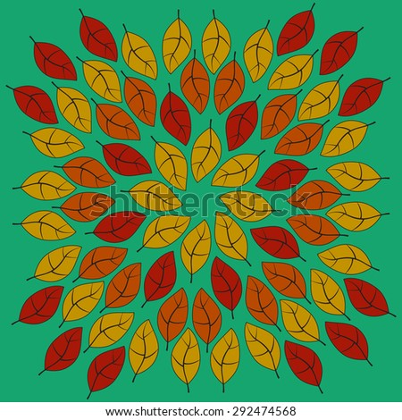 Circular composition made of Autumn colors Leaves on a green uniform background, vector illustration - stock vector