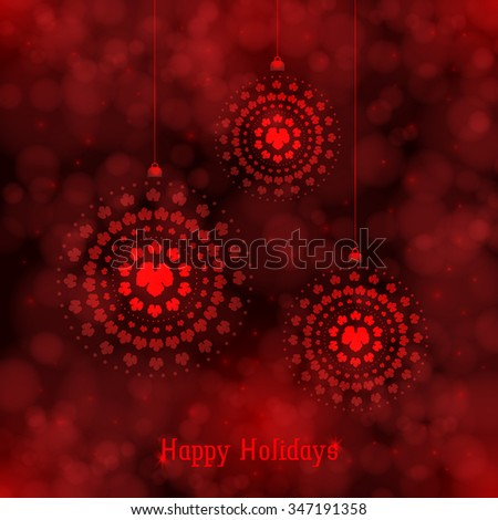 Circular design with vine leaves decoration. Background texture bubbles and red lights. Vector