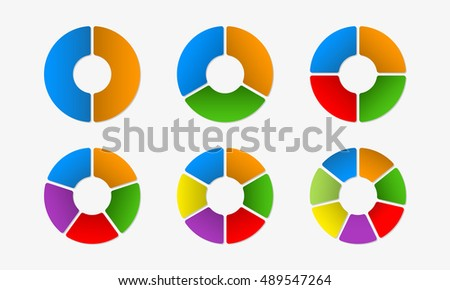 Circular diagram set. Circle infographics concept with 2,3,4,5,6,7 steps, parts, levels or options. Colorful vector illustration.