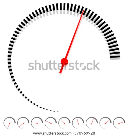 Circular dial, gauge template with increments and red needle - stock vector