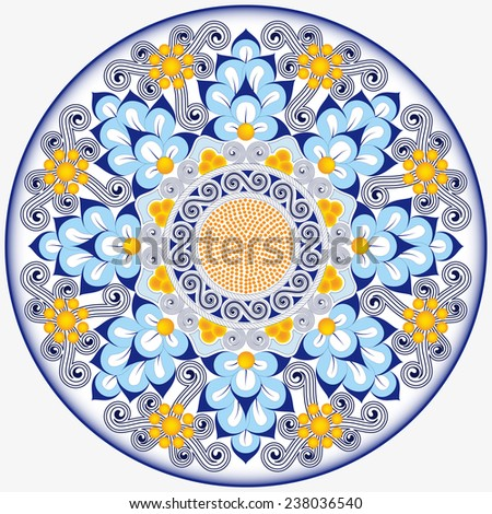 Circular dish decoration in Morocco abstract style, used in traditional Sicilian ceramic. This design is typically used for ornamental wall ceramic plates - stock vector
