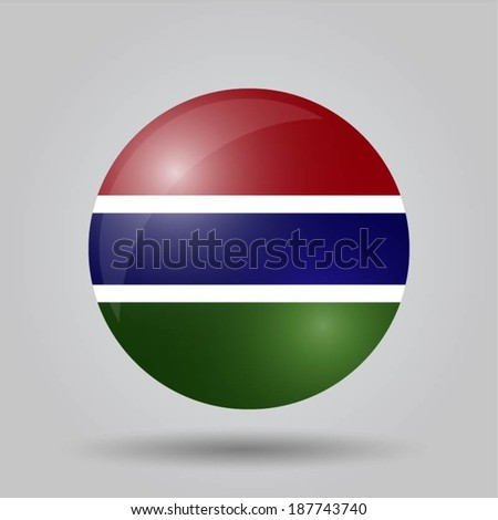 Circular flag with shadow and 3D effect, on grey background - Gambia  - stock vector
