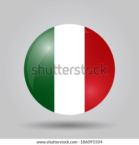 Circular flag with shadow and 3D effect, on grey background - Italy - stock vector